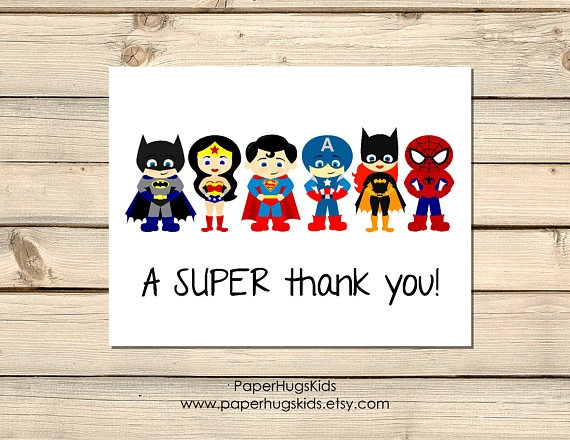 printable super hero note card example