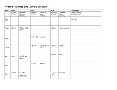 printable weekly training and workout log example
