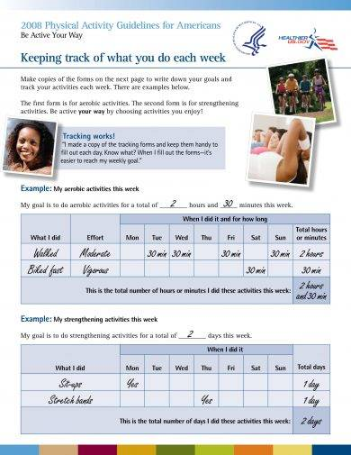 printable workout log with physical activity guidelines example