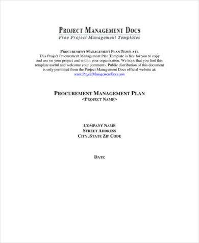 Procurement Management Plan Template Example