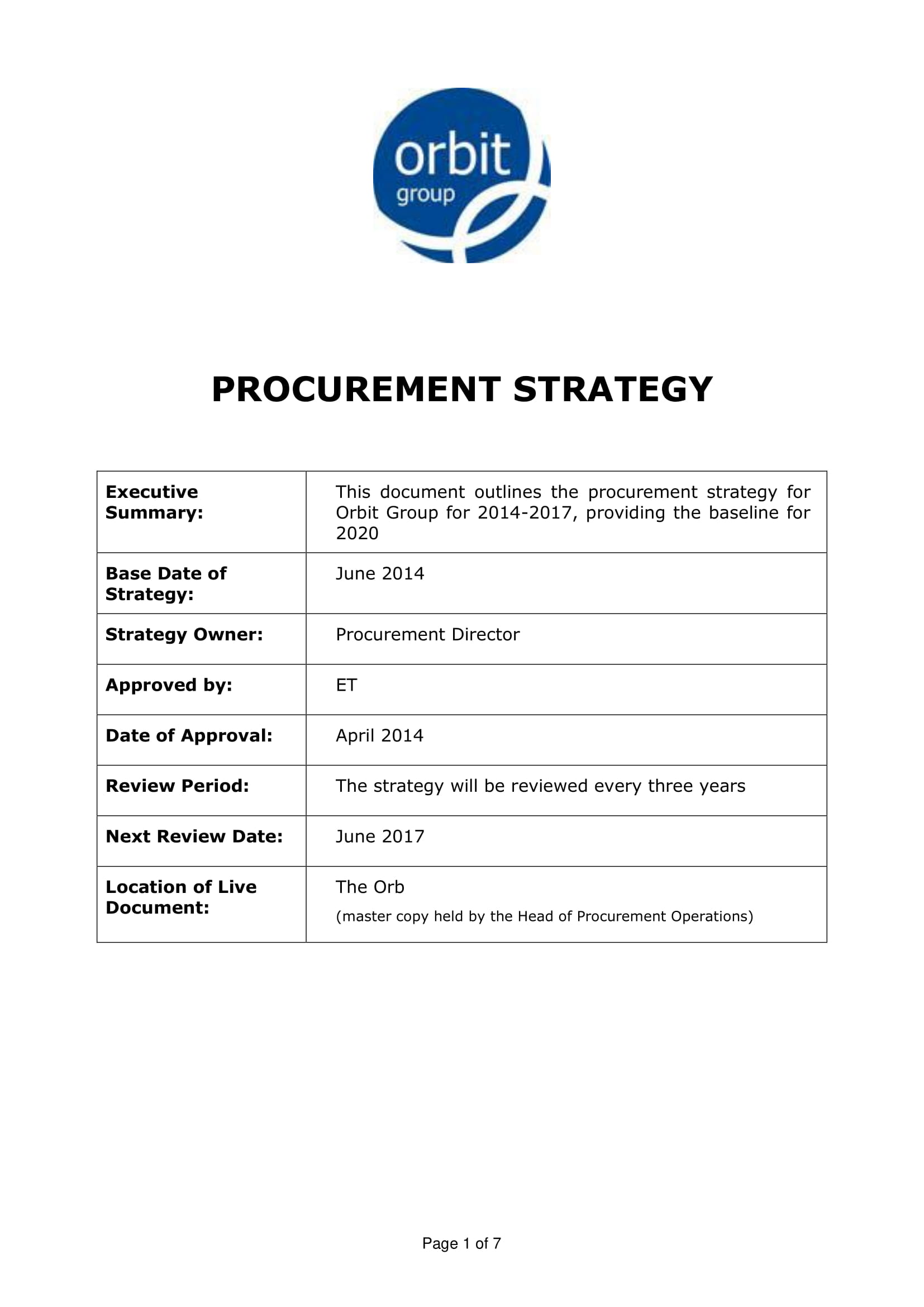 procurement strategy plan outline example 1