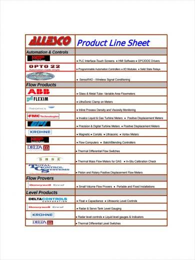product line sheet