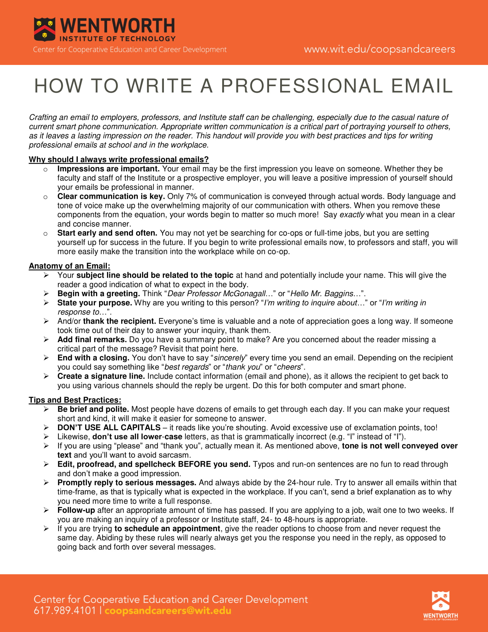 professional email guidelines and example 1