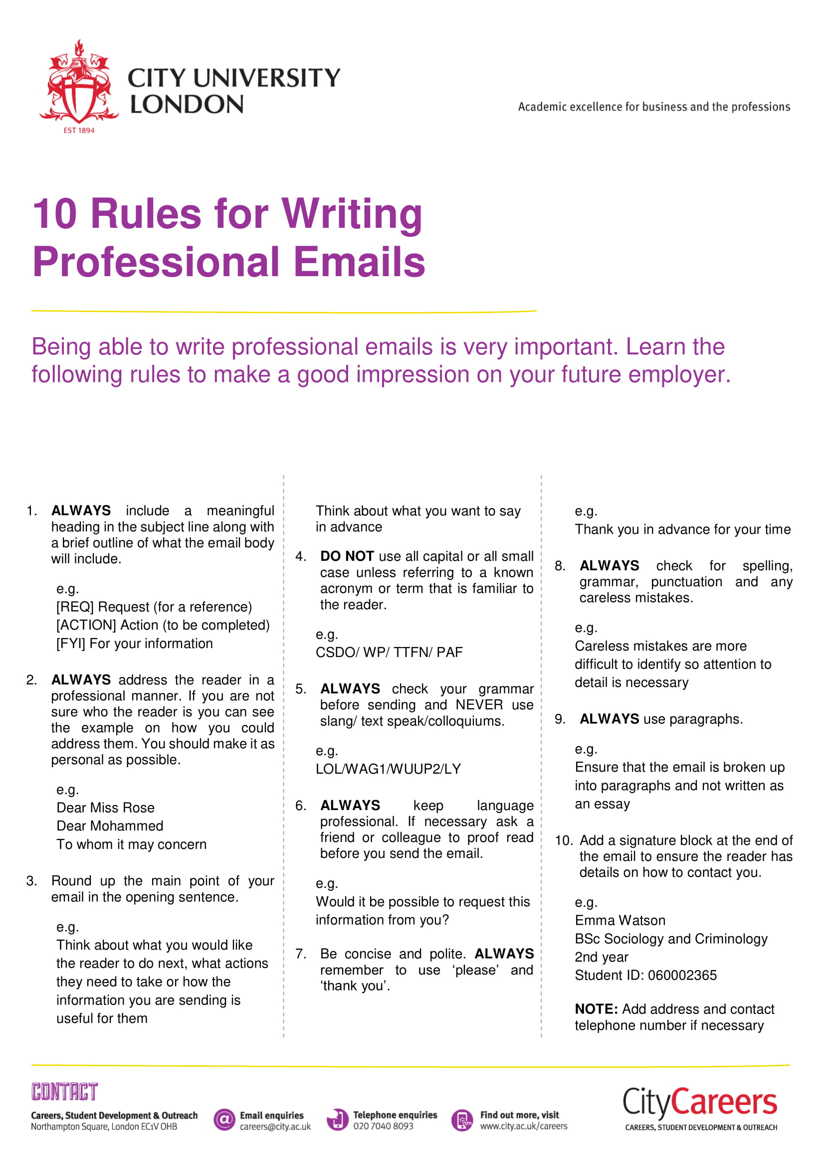 professional email writing rules example 1