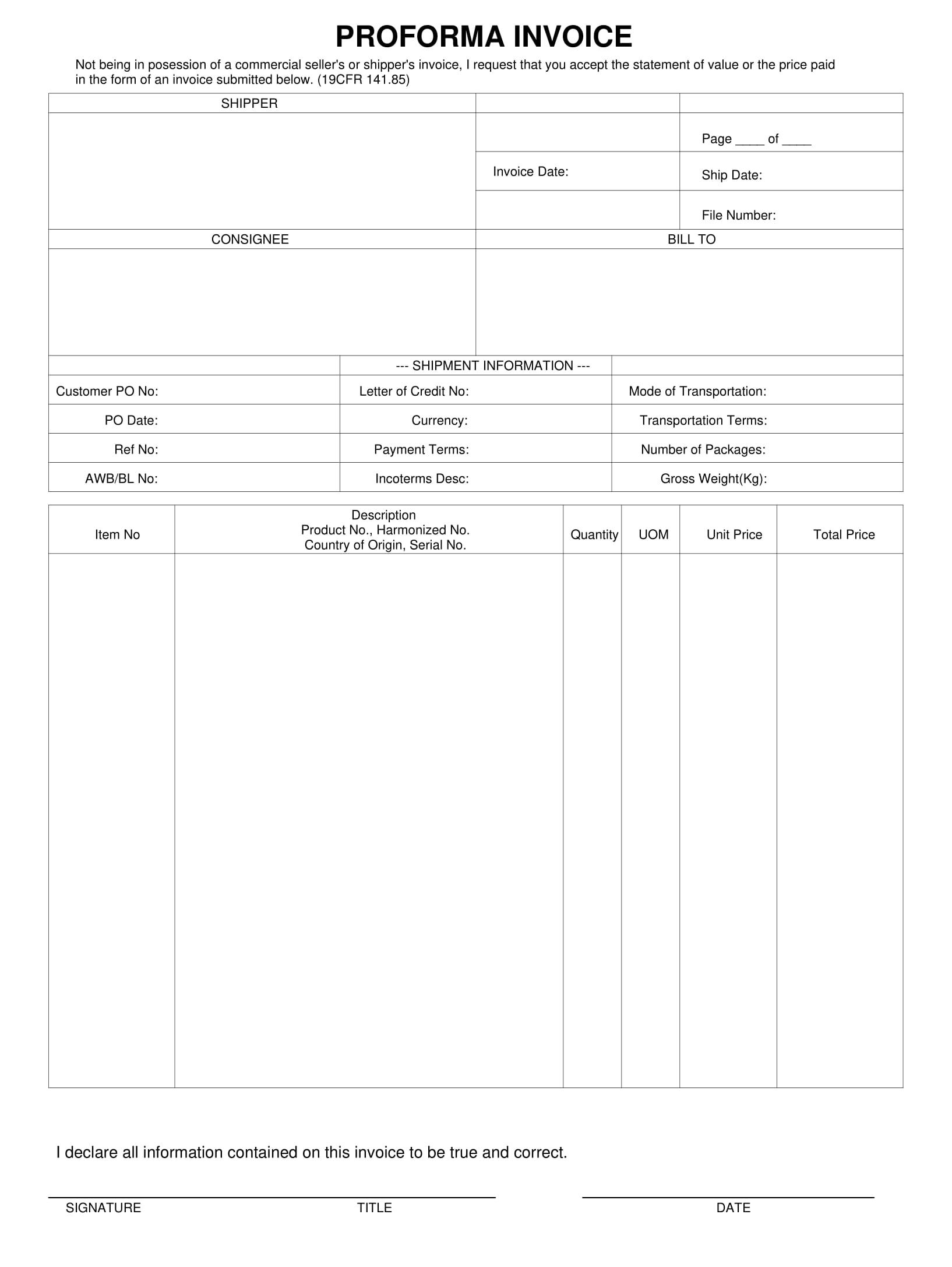 professional pro forma invoice example