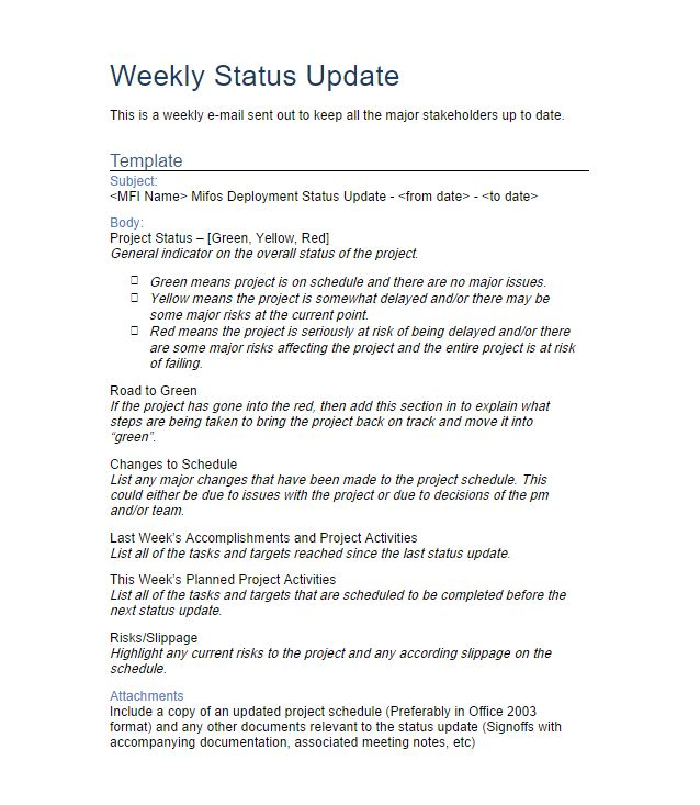 professional weekly status report example