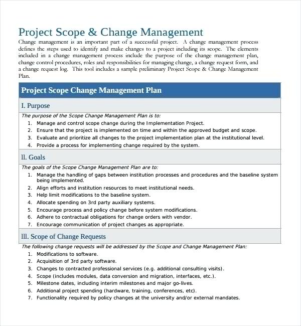 project scope change management plan example