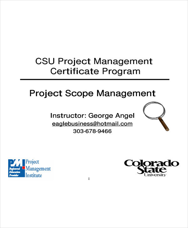 project scope management and plan example