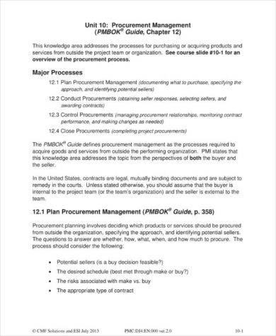 project team procurement management plan example1