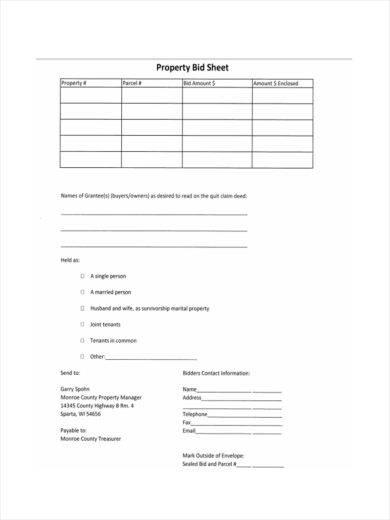 property bid sheet