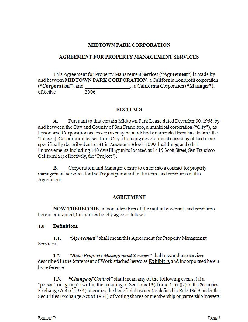 property management service agreement example