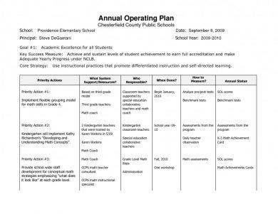 public primary school operational plan example1