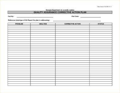 quality assurance corrective action plan example1