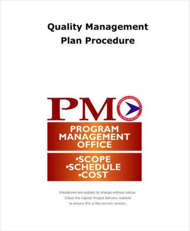 quality management plan procedure and example1
