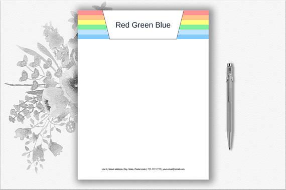 rainbow personal letterhead example