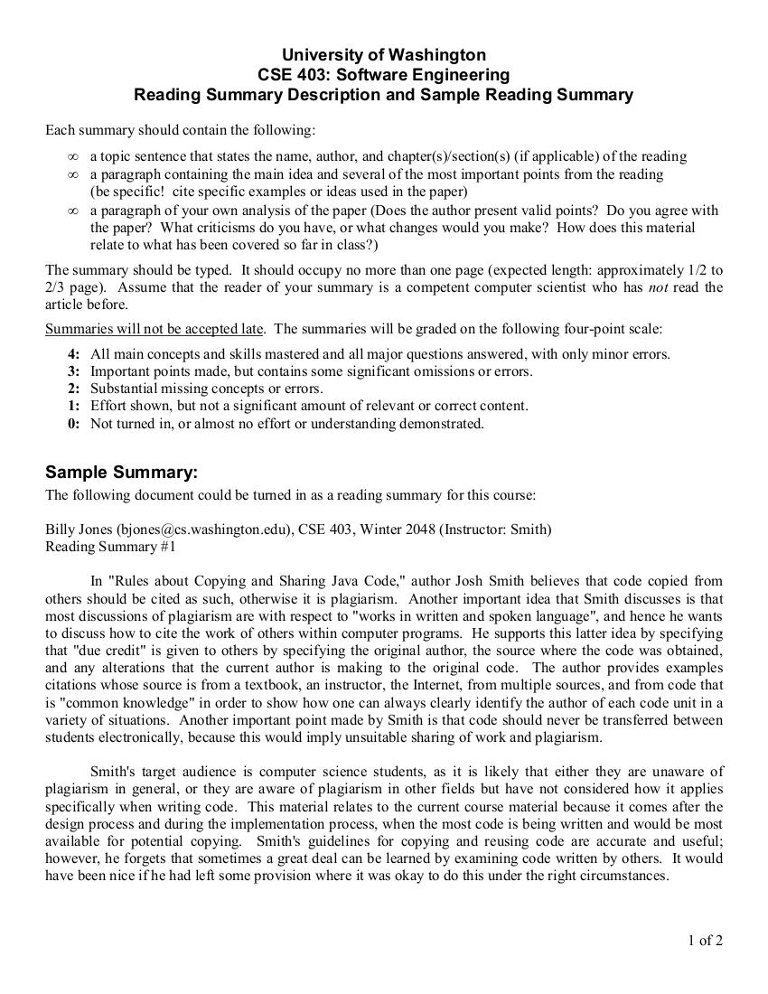 reading summary example