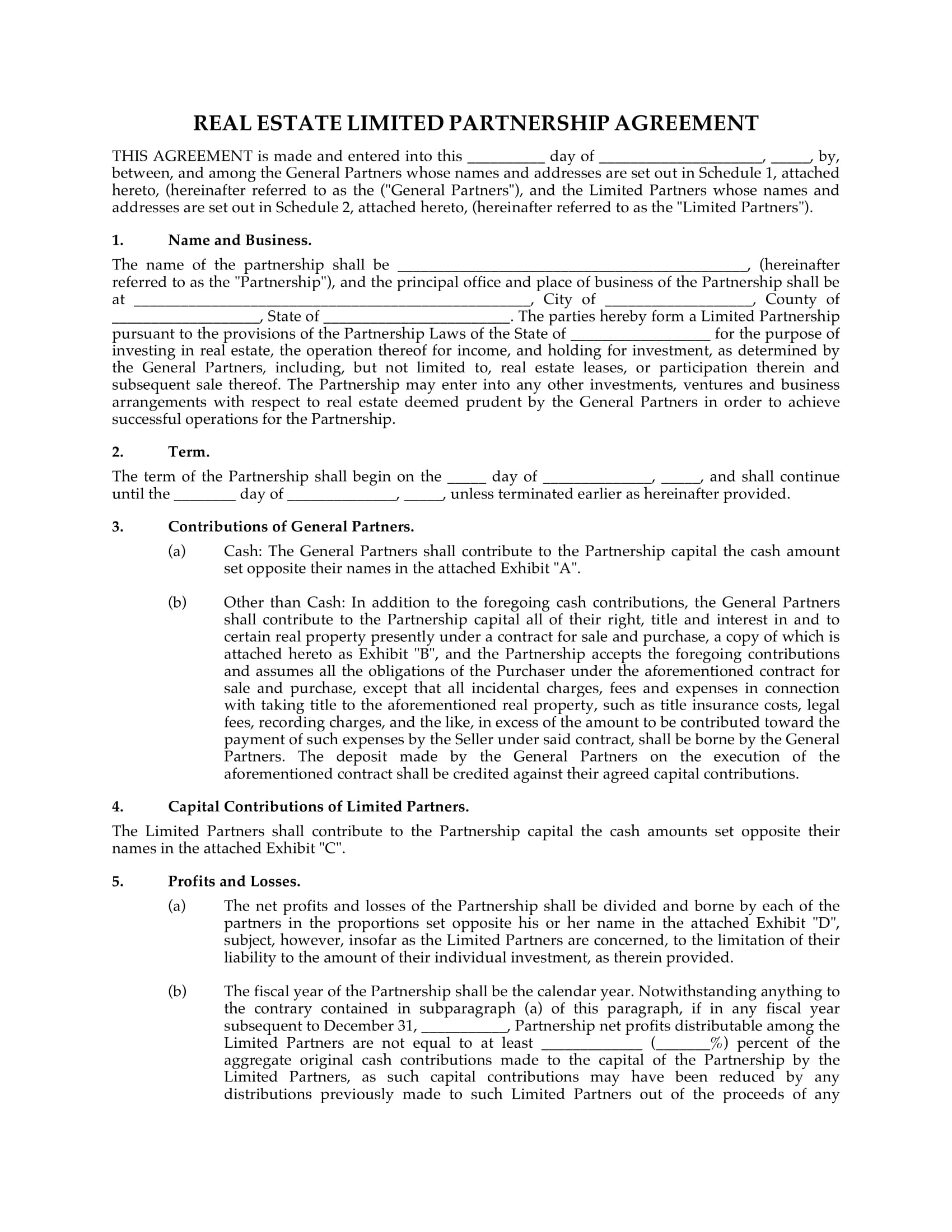 real estate limited partnership agreement example