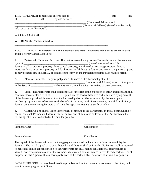 real estate partnership agreement example