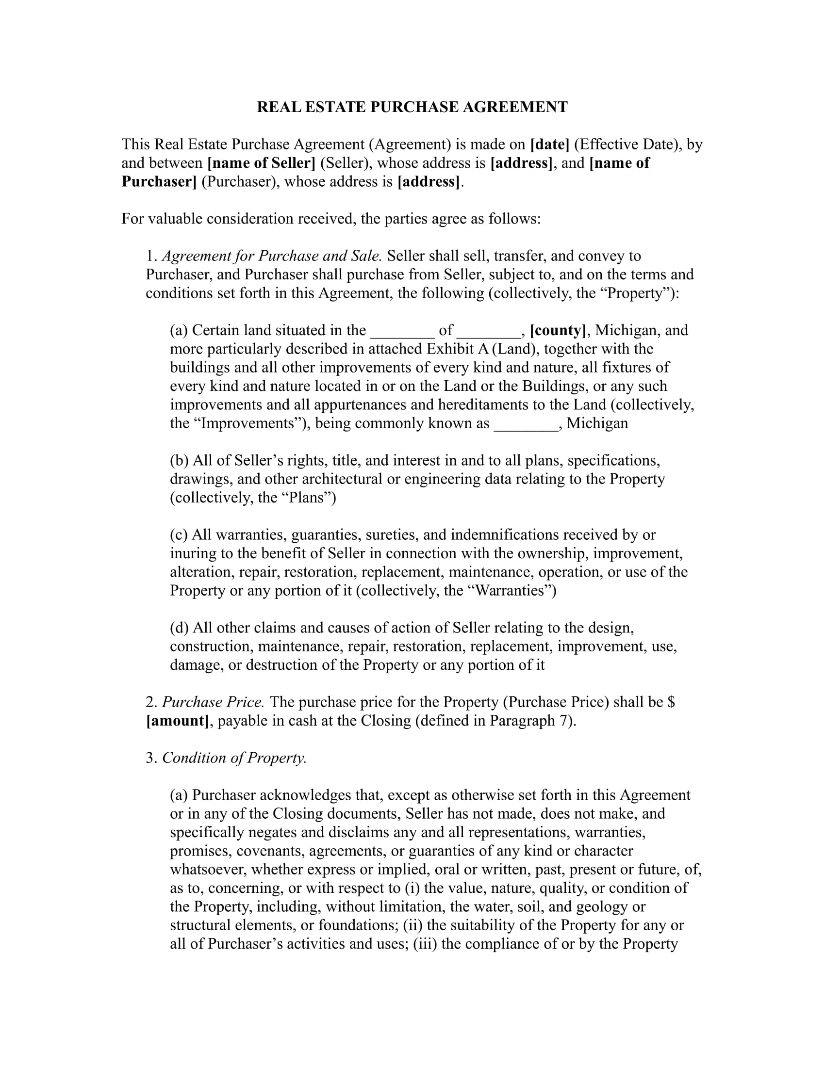 real estate purchase agreement example