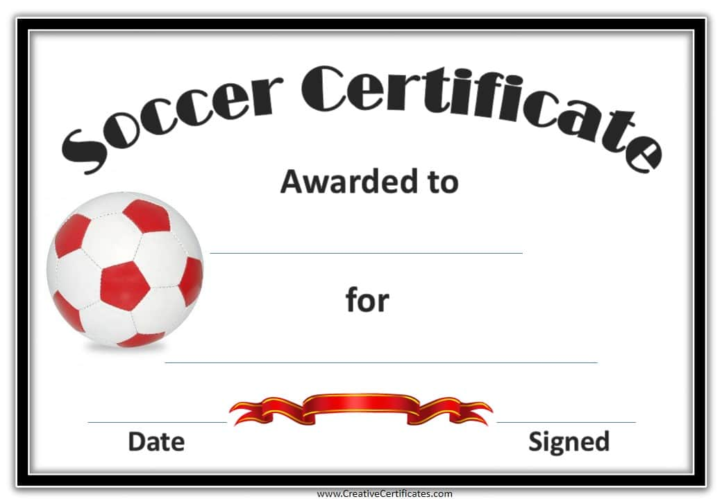 red ball soccer award certificate example