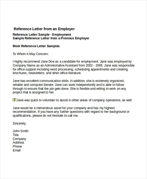 reference letter from an employer