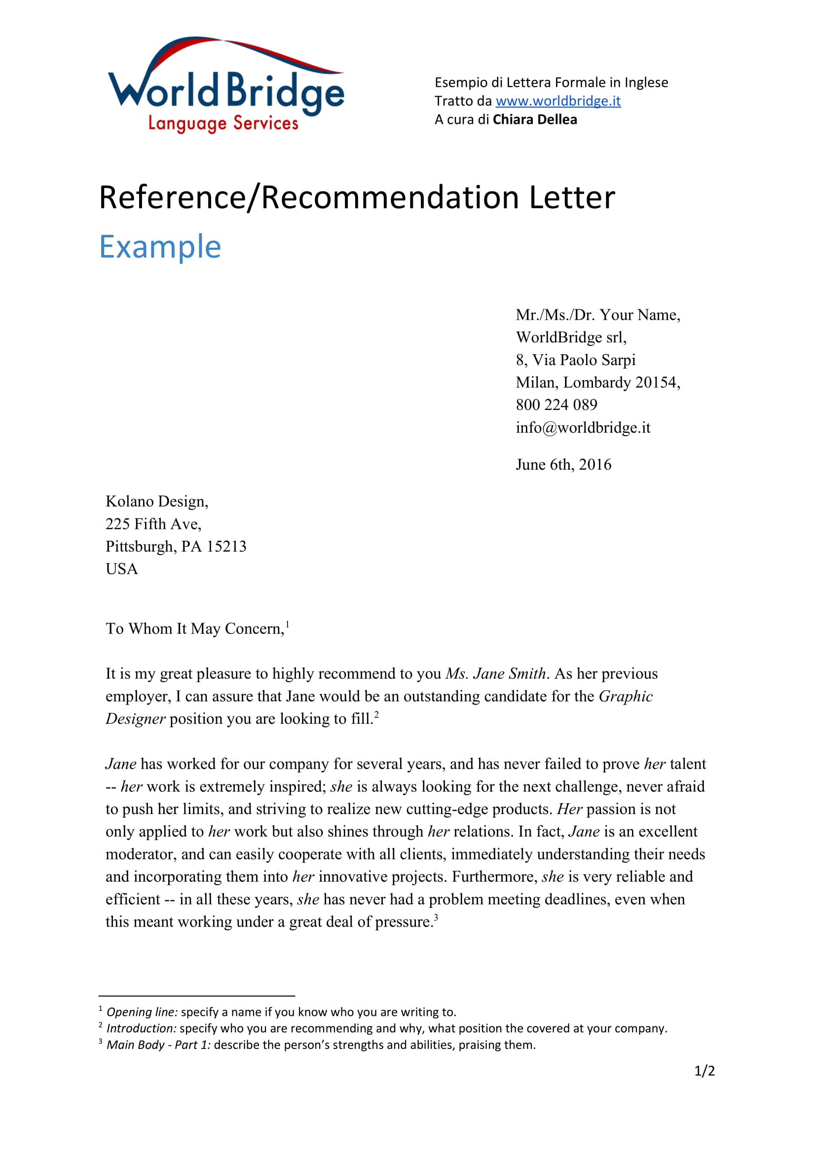 reference letter from a previous employer example 1