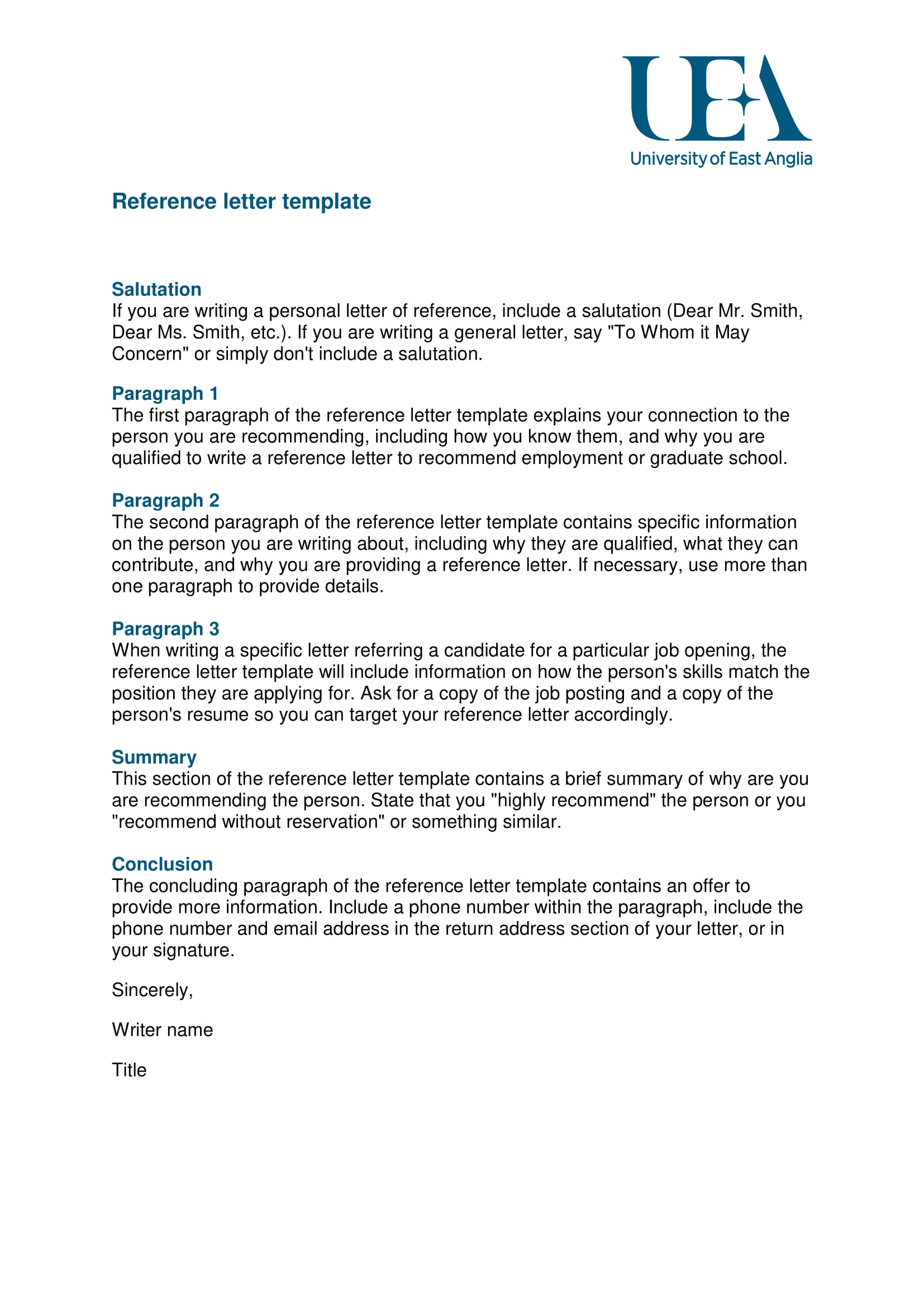 9  reference letter from a previous employer examples