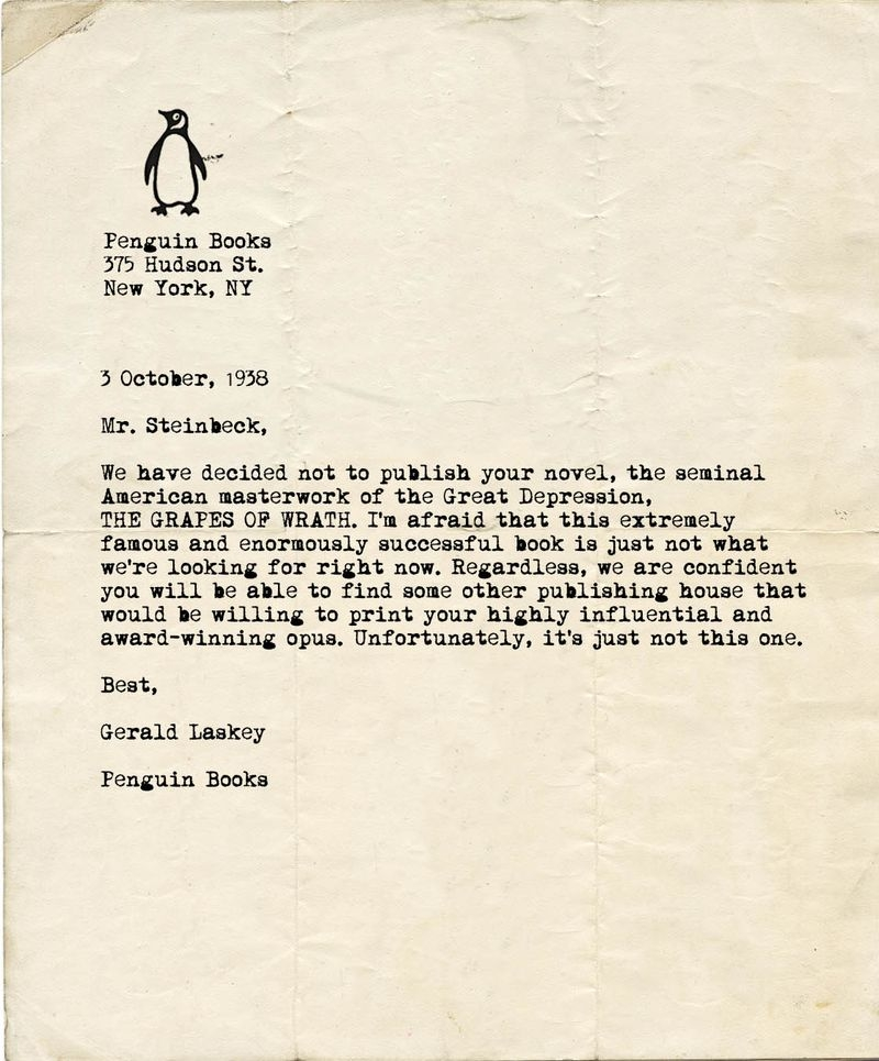 rejection letter sent to steinbeck