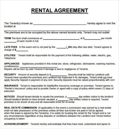 rental letter agreement outline example1