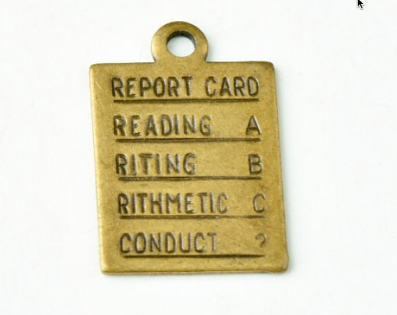 report card brass charm example