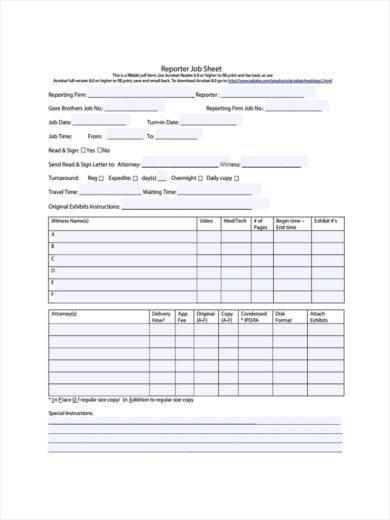 reporter job sheet