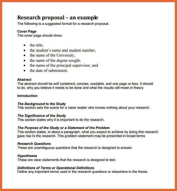 research plan proposal example