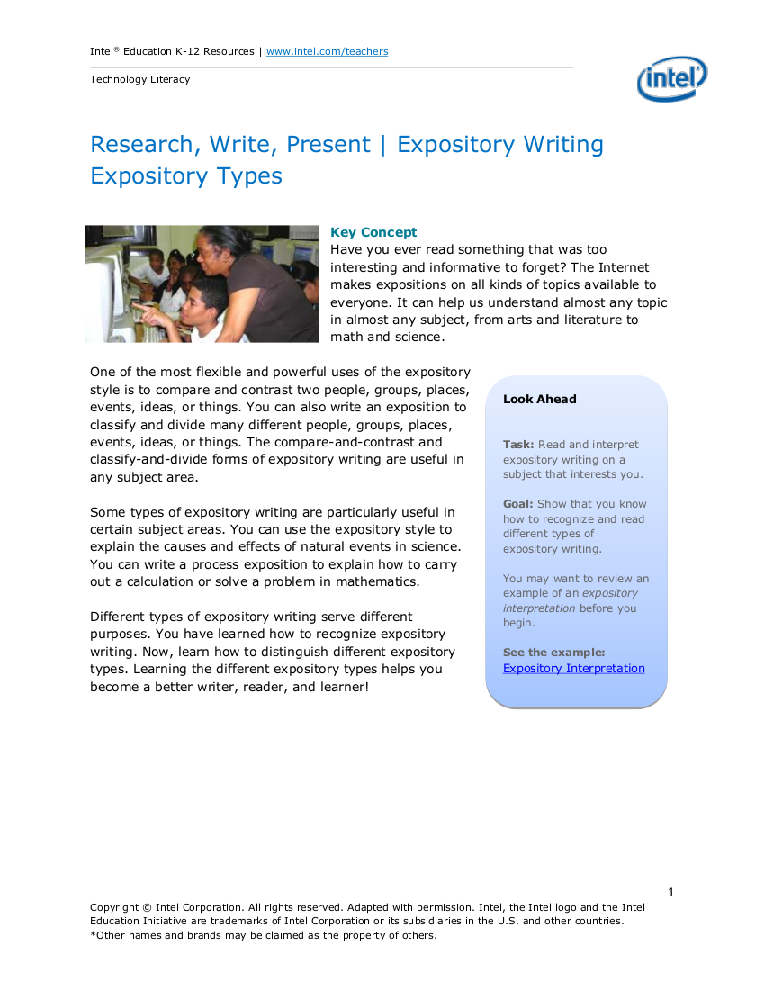 researching writing and presenting expository writing