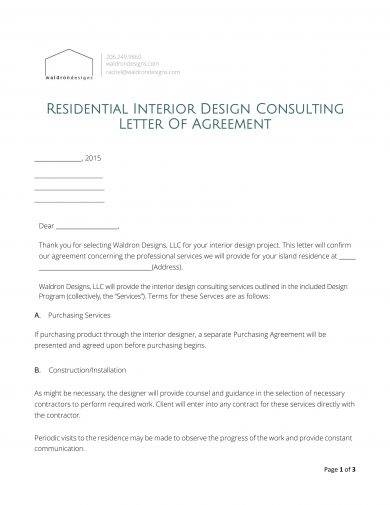 22 letter of agreement examples pdf doc examples - Interior design letter of agreement ...