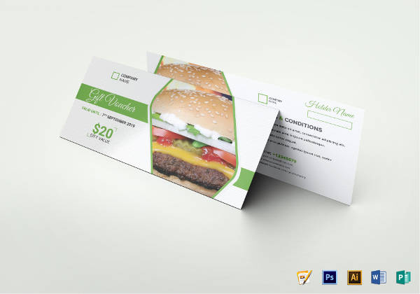 restaurant food gift voucher template