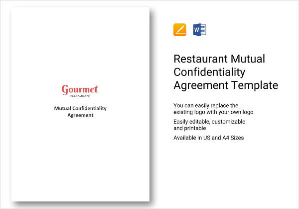 restaurant mutual confidentiality agreement example