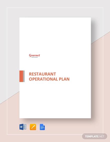 restaurant operational plan template