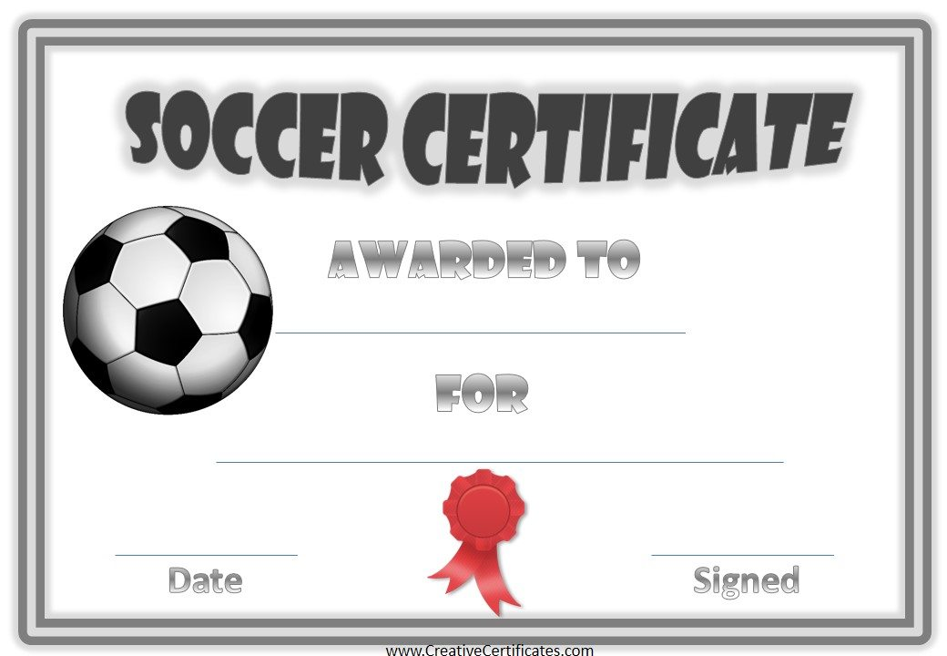 ribbon soccer award certificate example