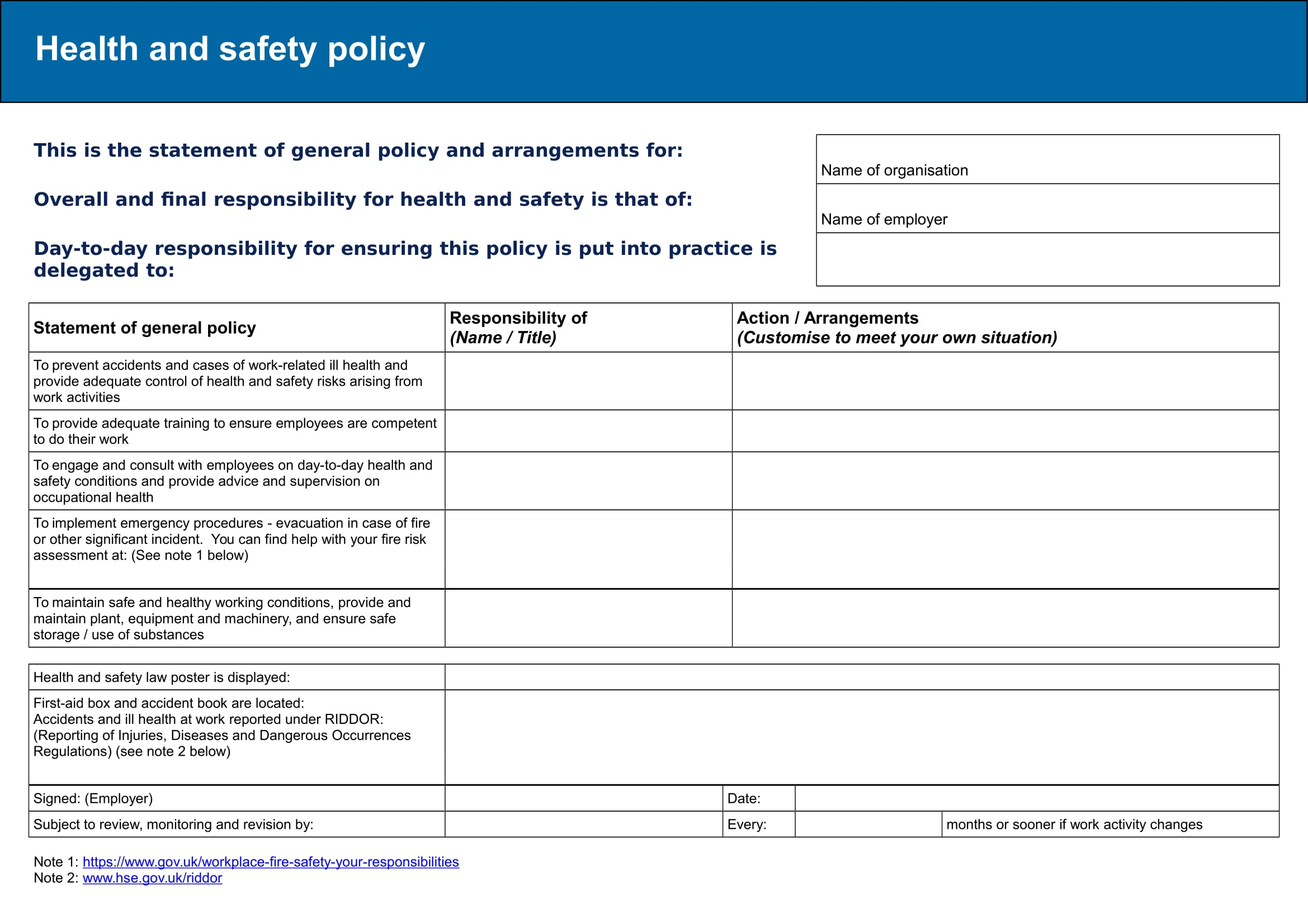 risk assessment and policy template example 1