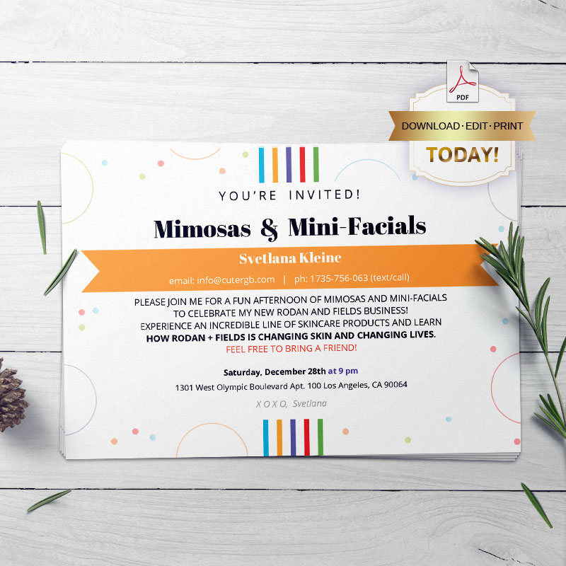 rodan and fields business announcement and invitation example