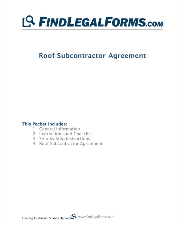 roof subcontractor agreement example