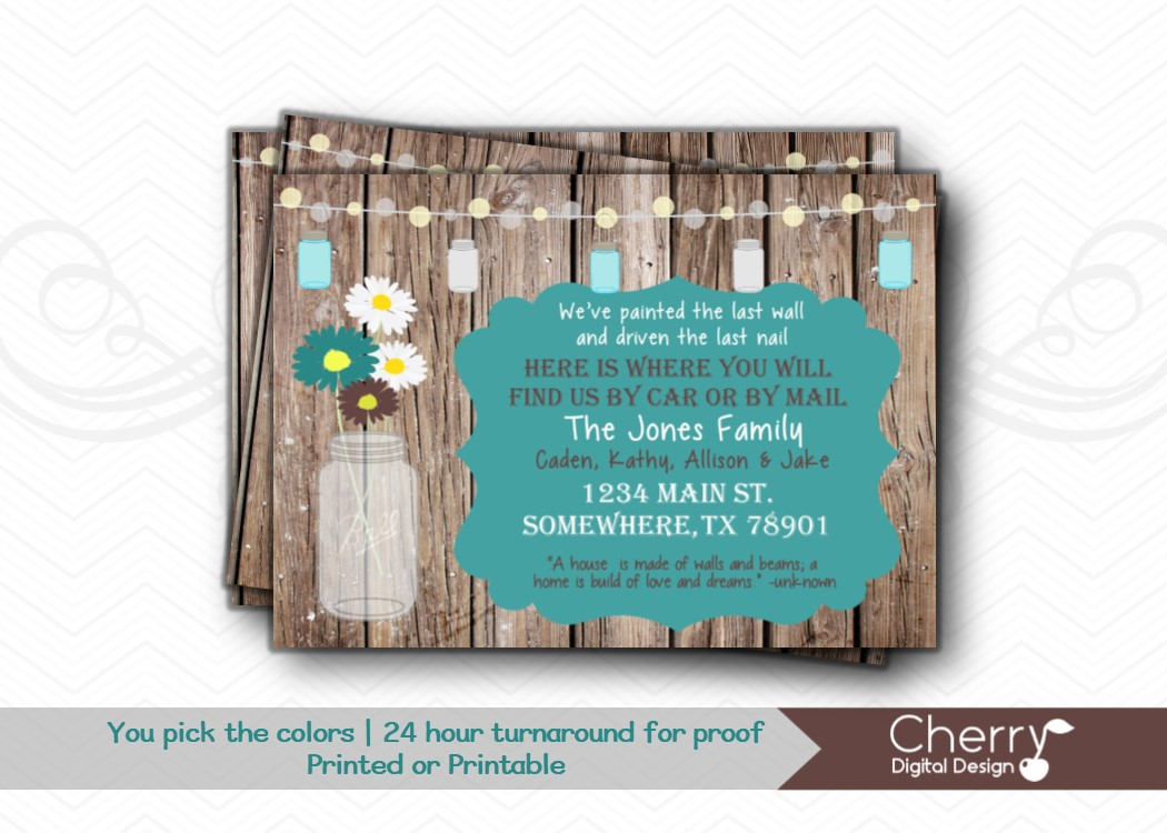 rustic mason jar moving announcement example