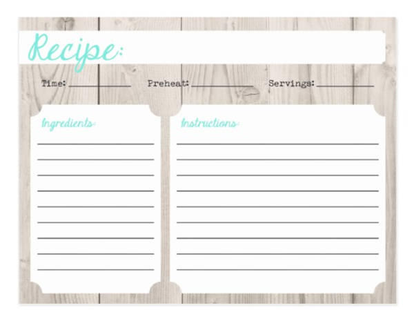 rustic recipe card