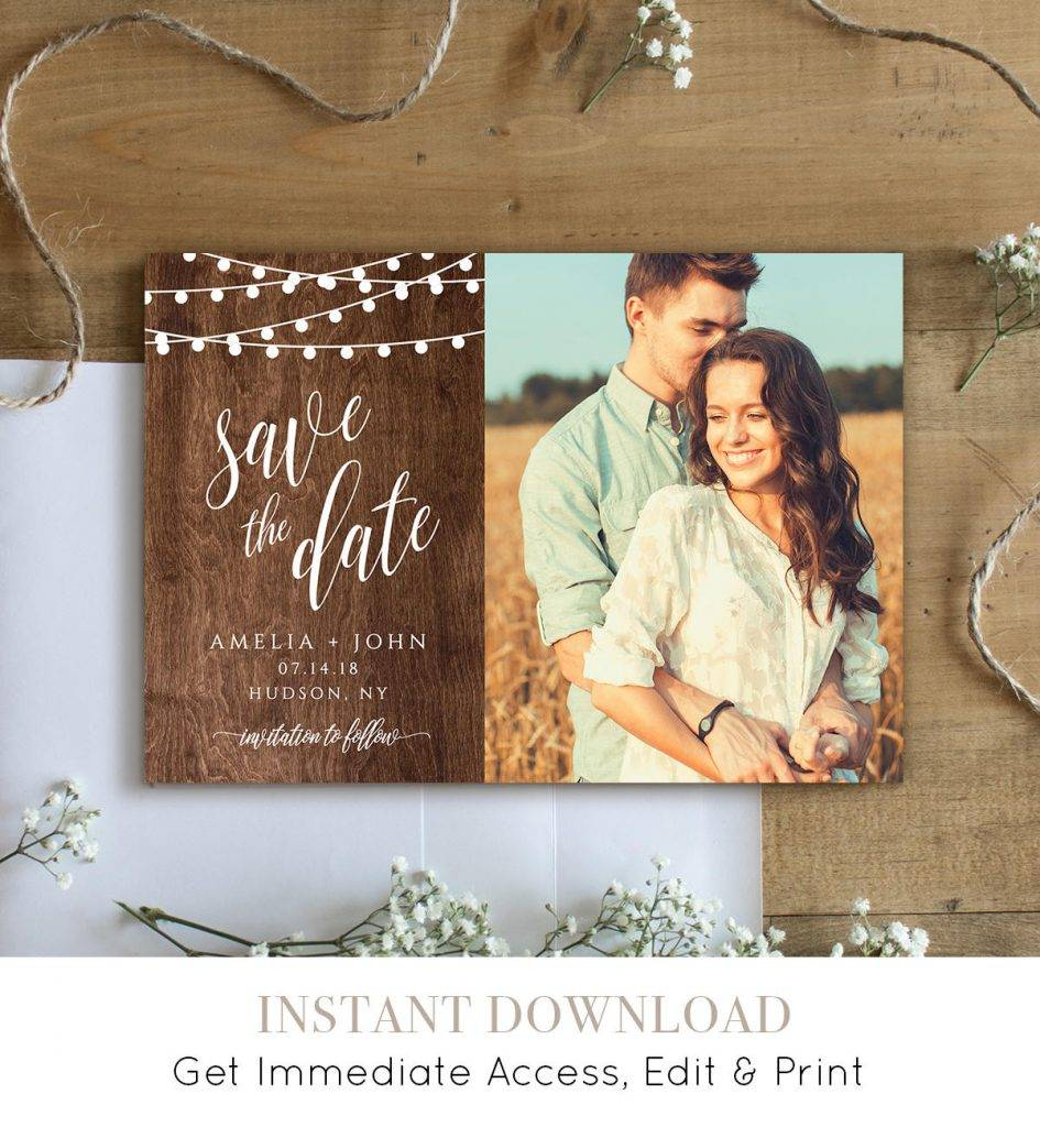 rustic save the date template example