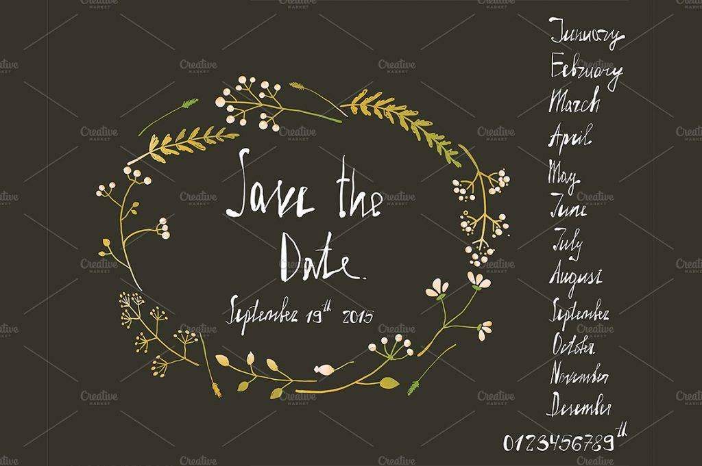 rustic wreath save the date card example