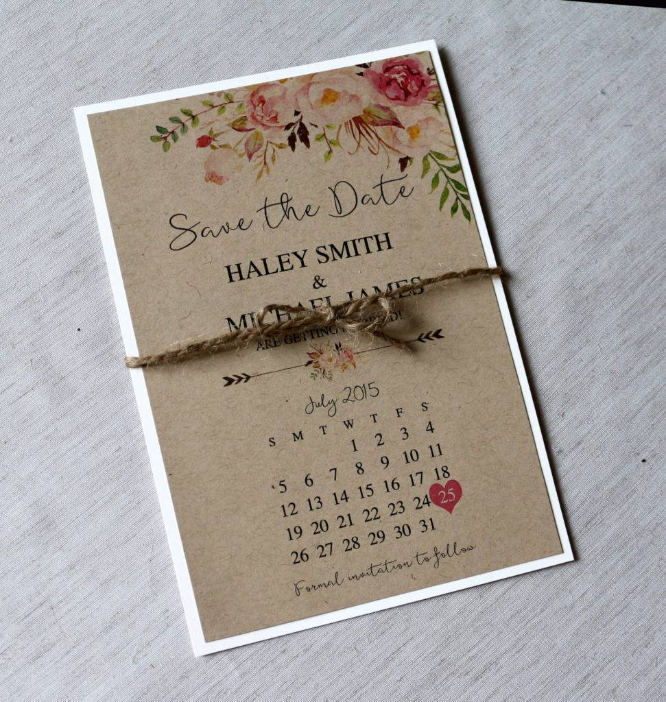 rustic and floral save the date example