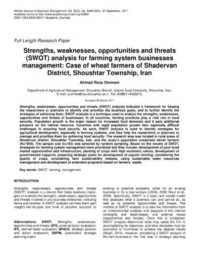 swot analysis for farming system businesses manage