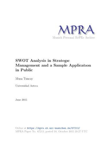 swot analysis in strategic management example
