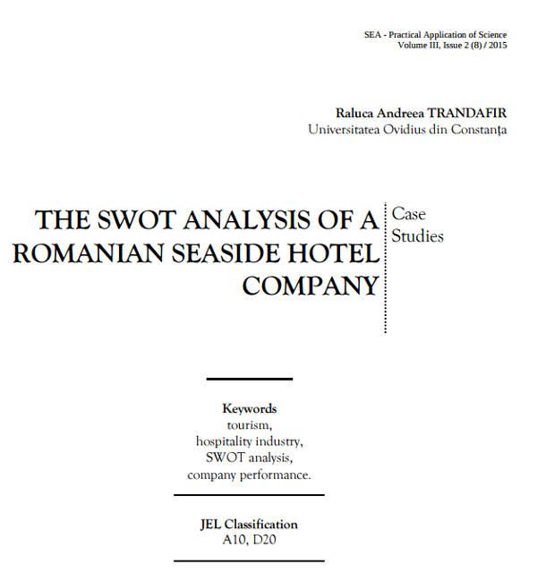 swot analysis of romanian seaside hotel