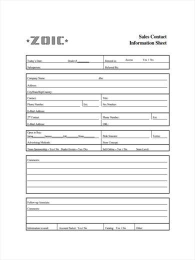 sales contact sheet